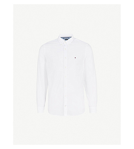 TOMMY HILFIGER Regular-fit cotton-poplin shirt (Bright+white
