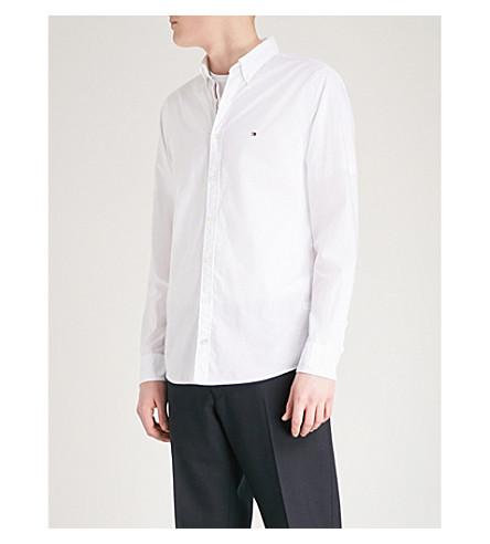 TOMMY HILFIGER Regular-fit cotton-poplin shirt (Bright+white