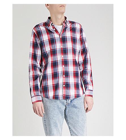 TOMMY HILFIGER Regular-fit checked cotton shirt (Dark+denim/bright+white