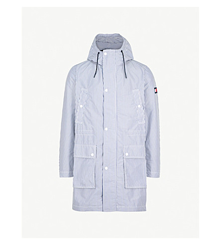 TOMMY HILFIGER Striped shell hooded parka coat (White/blue