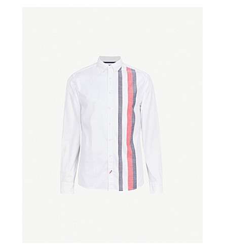 TOMMY HILFIGER Logo-stripe regular-fit cotton shirt (Navy+blazer/multi