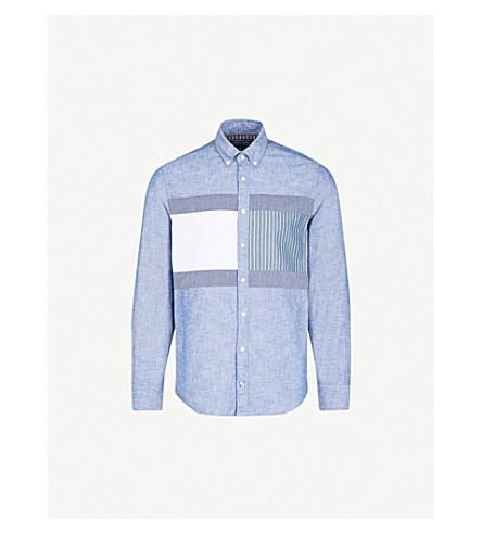 TOMMY HILFIGER Flag-panel regular-fit cotton shirt (Indigo