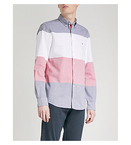 TOMMY HILFIGER Logo-stripe regular-fit cotton oxford shirt (Navy+blazer/multi