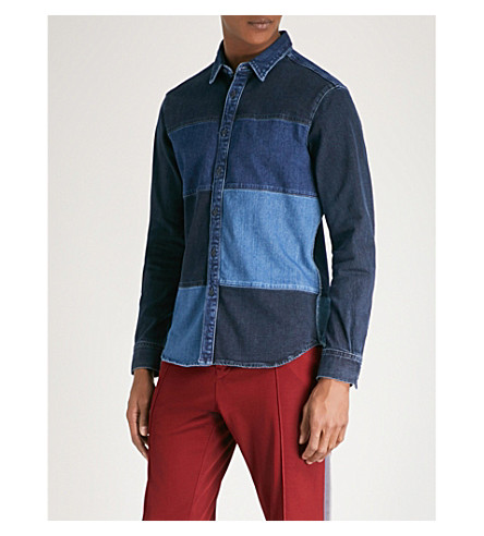 TOMMY HILFIGER Patchwork regular-fit stretch-denim shirt (Collation+blue