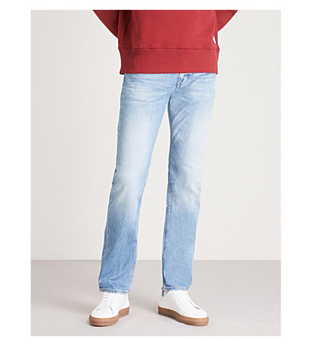 TOMMY HILFIGER Faded regular-fit straight stretch-denim jeans (Collation+blue