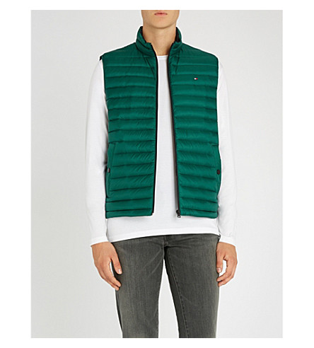 TOMMY HILFIGER Padded shell-down sleeveless jacket (Forest+biome