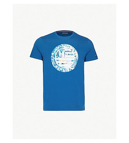 TOMMY HILFIGER Floral-print cotton-jersey T-shirt (Blue+opal