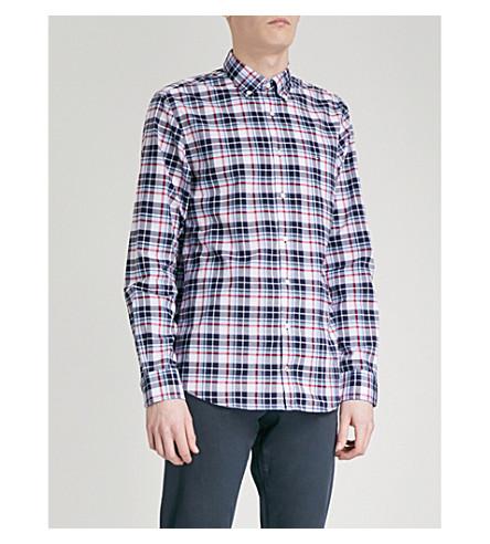 TOMMY HILFIGER Checked regular-fit cotton shirt (Dark+denim/bright+white
