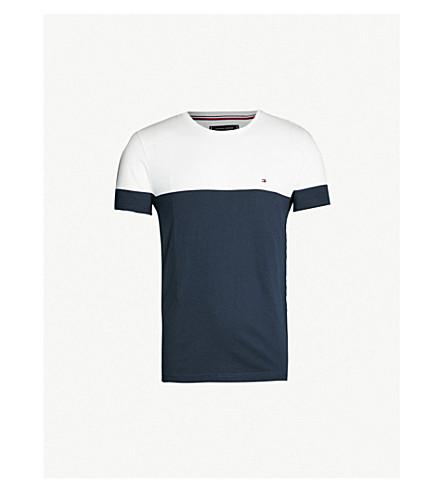 TOMMY HILFIGER Colour-blocked cotton-jersey T-shirt (Sky captain / white