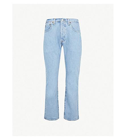 LEVI'S 501 regular-fit mid-rise jeans (Lt+broken+in