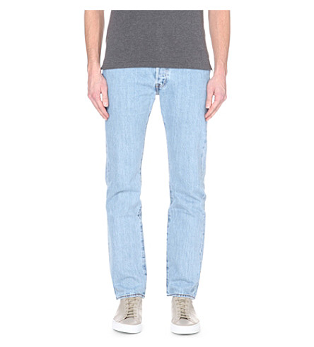 LEVI'S 501 regular-fit mid-rise jeans (Lt+broken+in