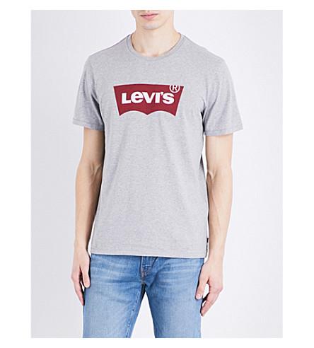 LEVI'S Logo-print cotton-jersey t-shirt (Mid+heather+grey