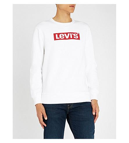 LEVI'S Logo-print cotton-jersey sweatshirt (Levis+logo+2+white
