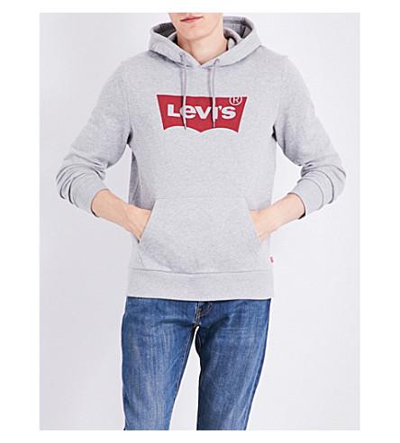 LEVI'S logo-print cotton hoody (Graphic+mid+heather+grey