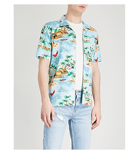LEVI'S Hawaiian-print linen and cotton-blend shirt (Pelican+cameo+blue