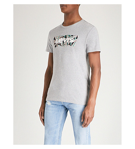 LEVI'S Logo-print cotton-jersey T-shirt (Midtone+grey+heather
