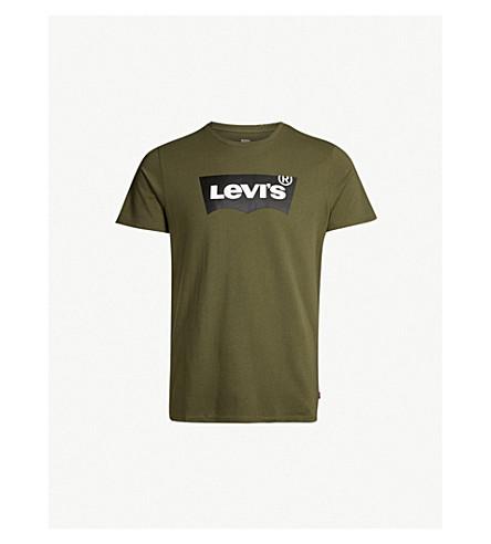 LEVI'S Logo-print cotton-jersey T-shirt (Olive night