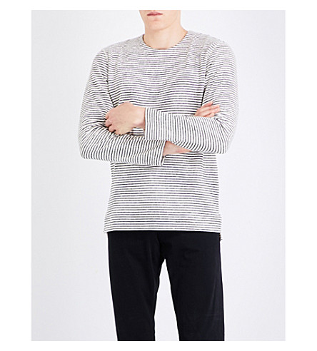 LEVIS MADE & CRAFTED Striped long-sleeved cotton top (Grey+hthr+stripe