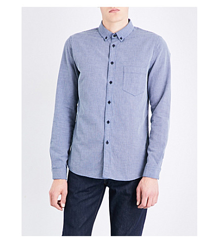 LEVIS MADE & CRAFTED Geometric-patterned regular-fit button-down cotton shirt (Indigo+dobby