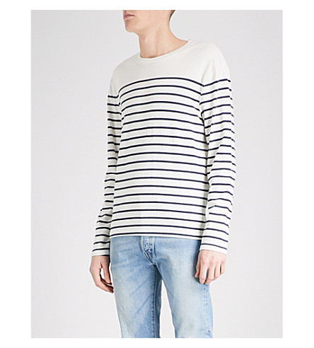 LEVI'S Striped cotton-jersey top (Plaited+stripe+mrshmallw