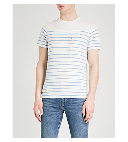 LEVI'S Sunset striped cotton-jersey T-shirt (Anchor+stripe+marshm