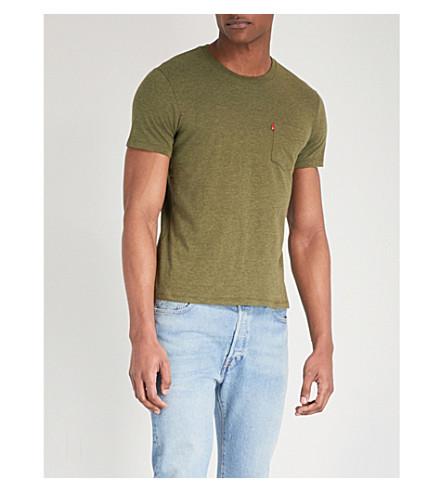LEVI'S Logo embellished cotton-jersey T-shirt (Cypress+heather