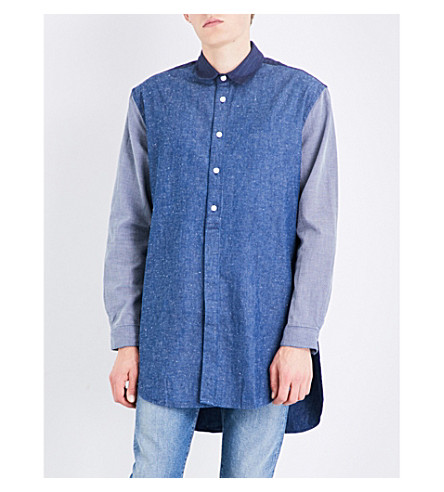 LEVIS MADE & CRAFTED Relaxed-fit cotton and linen-blend tunic shirt (Mixed+indigo