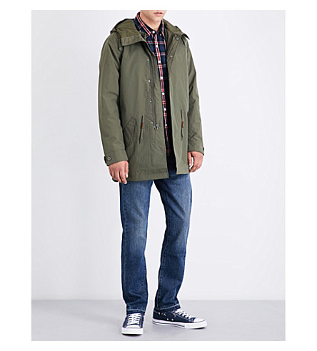 LEVI'S Hooded fishtail shell parka (Olive+night