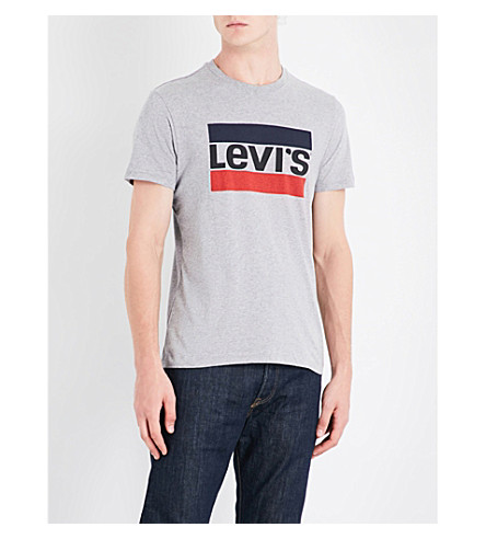 LEVI'S Logo-print cotton T-shirt (Grey+heather