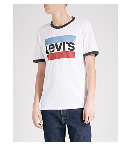 LEVI'S Logo-print cotton-jersey T-shirt (Ringer+white