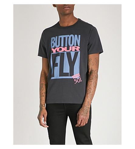 LEVI'S Button Your Fly cotton-jersey T-shirt (Black