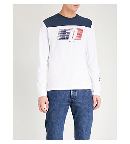 LEVI'S赛车标志-打印棉衫-球衣顶部 (白色/连衣裙 + 蓝色