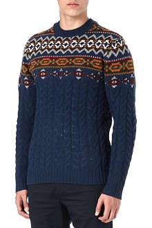 LEVI'S Fair Isle cable knit jumper