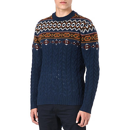 LEVI'S Fair Isle cable knit jumper (Blue