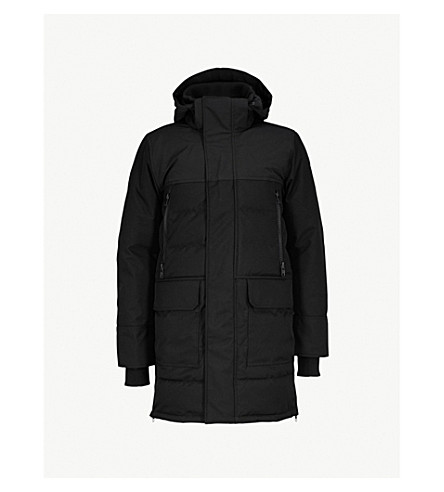 CANADA GOOSE 巴尔莫勒尔绗缝皮大衣 (黑色 + hb/黑色