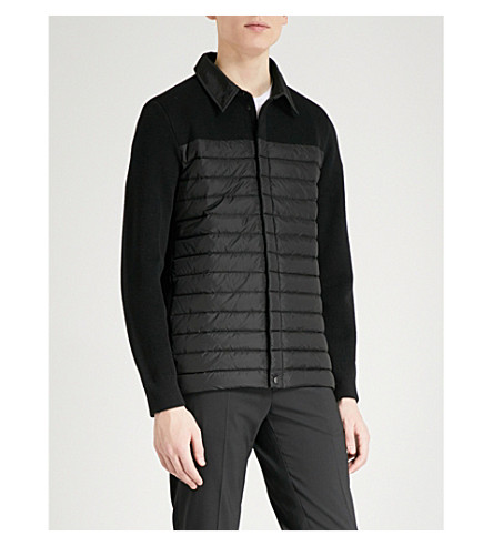 CANADA GOOSE HyBridge padded shell and knitted-wool jacket (Black