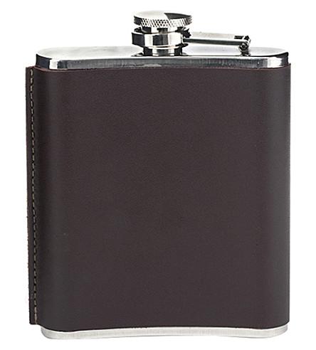 KIKKERLAND Leather hip flask 6oz