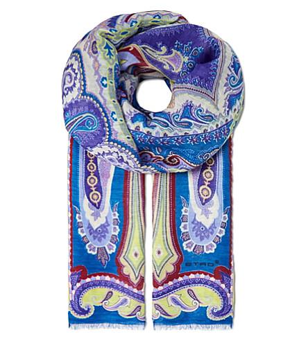 ETRO Linen-silk scarf (Purple