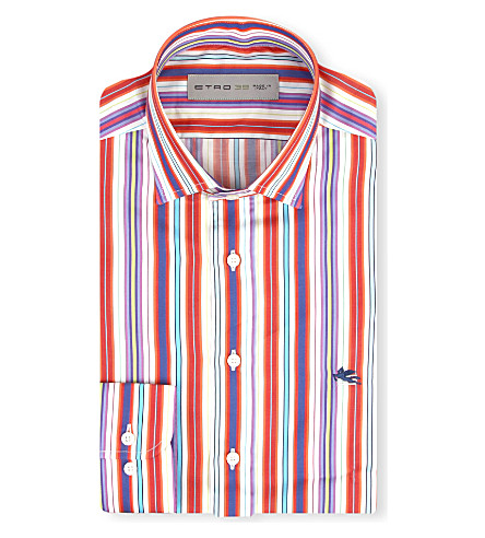 ETRO Striped regular-fit single cuff shirt (Orange