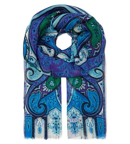 ETRO Paisley print cashmere-blend scarf (Blue