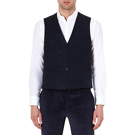 ETRO Contrast wool-blend waistcoat (Navy