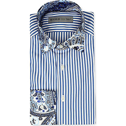 ETRO Striped slim-fit single-cuff shirt (Blue