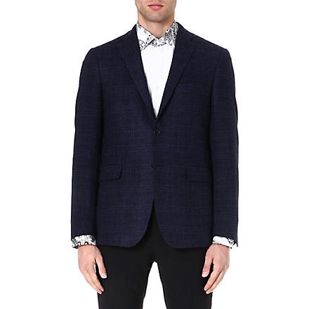 ETRO Check-print wool-blend jacket (Navy