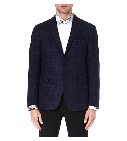 ETRO Check-print wool-blend jacket (Navy