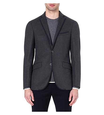 ETRO Grosgrain-trim wool blazer (Grey