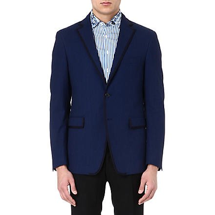 ETRO Contrast-trim cotton blazer (Blue