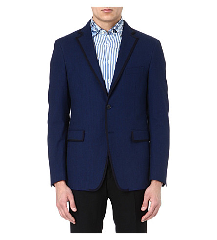 ETRO Contrast-trim cotton blazer (Blue