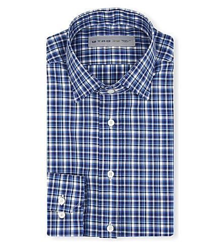 ETRO Check-print cotton shirt (Blue