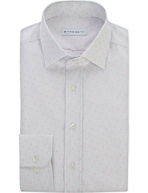 ETRO Pinstripe and dot-patterned cotton shirt