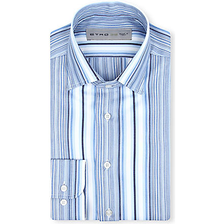 ETRO Multi-stripe cotton shirt (Blue